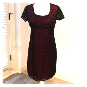 Red with black sheer overlay Maternity Dress. NWOT